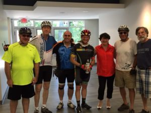 A few of the many Tour de Shuls riders (25, 50 and 75 miles) who were welcomed into our new shul building by Karen Friedman-Hanna and David Ehrmann on Sunday, June 26, 2016