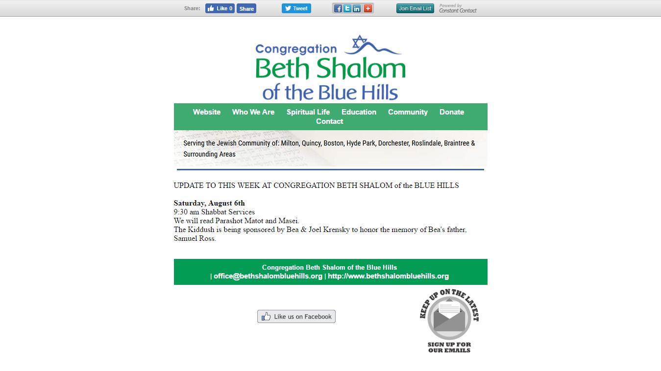 Update to CBSBH Newsletter 08/03/16