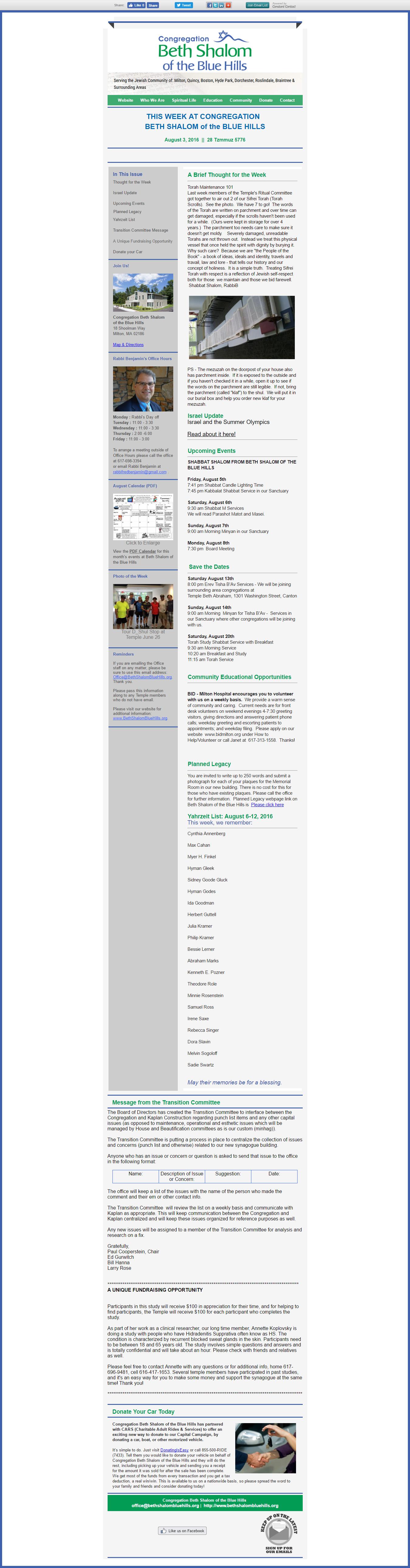 CBSBH Newsletter 08/03/16