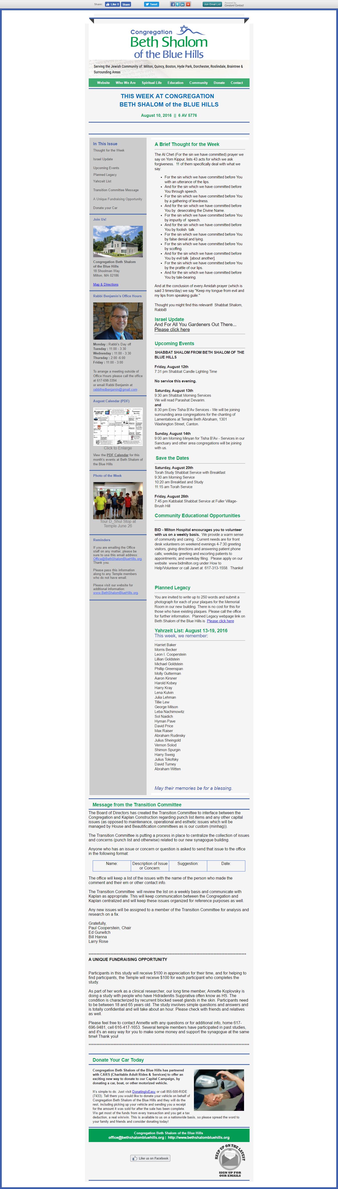 CBSBH Newsletter 08/10/16