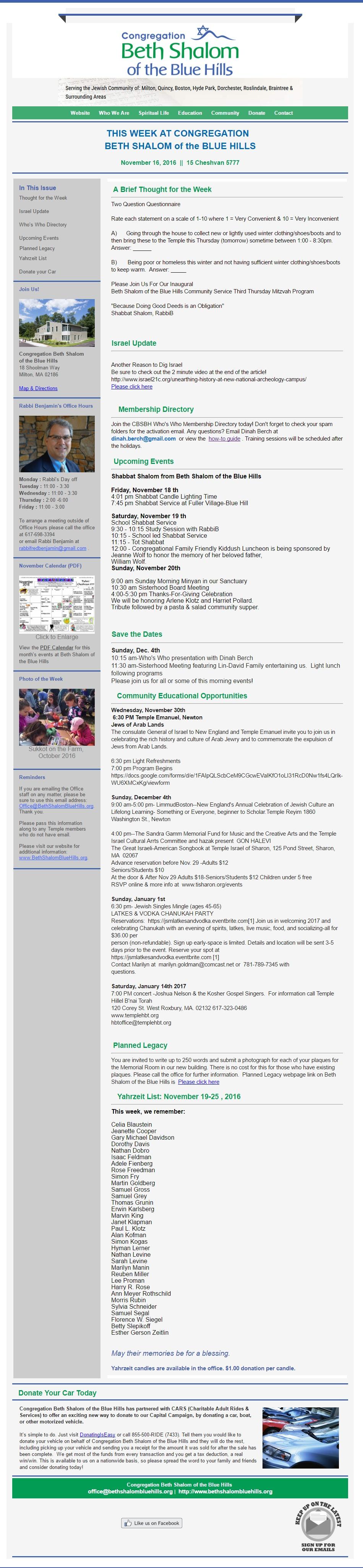 CBSBH Newsletter 11/16/2016