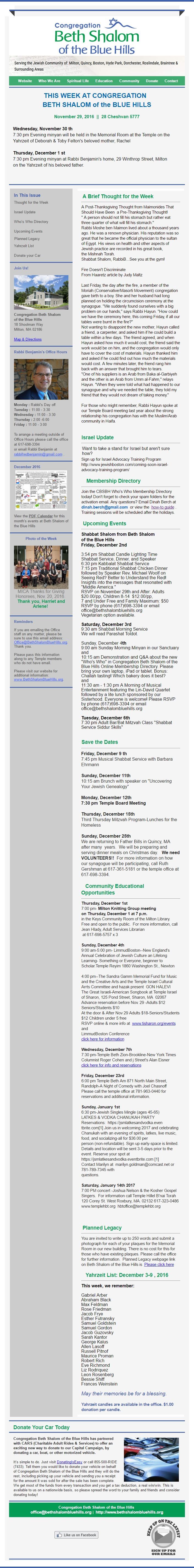 CBSBH Newsletter 11/29/16